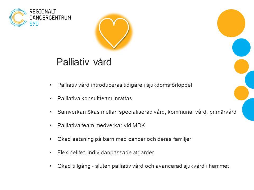 Palliativ vård Palliativ vård introduceras tidigare i sjukdomsförloppet Palliativa konsultteam inrättas Samverkan ökas mellan specialiserad vård, kommunal vård, primärvård Palliativa team medverkar vid MDK Ökad satsning på barn med cancer och deras familjer Flexibelitet, individanpassade åtgärder Ökad tillgång - sluten palliativ vård och avancerad sjukvård i hemmet