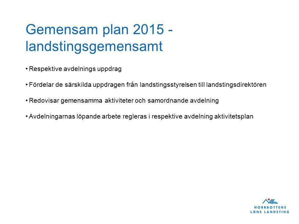 Gemensam plan 2015 - landstingsgemensamt Respektive avdelnings uppdrag Fördelar de särskilda uppdragen från landstingsstyrelsen till landstingsdirektö