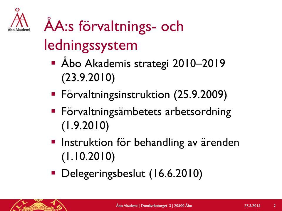  Valinstruktion (18.4.2012)  Verksamhets- och ekonomiplanering samt uppföljning  Placeringspolicy (kompl.15.6.2011)  Upphandlingsdirektiv (april 2011)  Examensstadga (17.3.2011)  Ekonomistadga (13.9.2011)  Reglemente för intern revision (13.9.2011)  Delegering om beslut om anställning och uppsägning (uppdaterad 13.1.2010) 27.3.2015Åbo Akademi | Domkyrkotorget 3 | 20500 Åbo 3