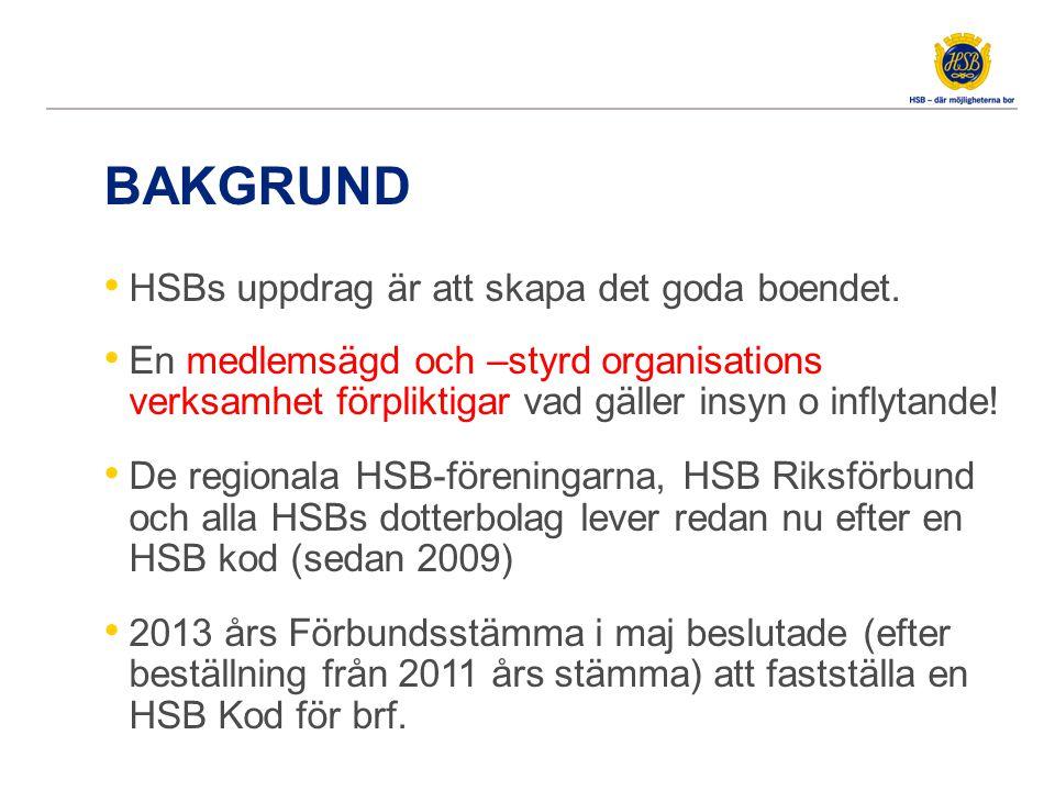 BAKGRUND HSBs uppdrag är att skapa det goda boendet. En medlemsägd och –styrd organisations verksamhet förpliktigar vad gäller insyn o inflytande! De