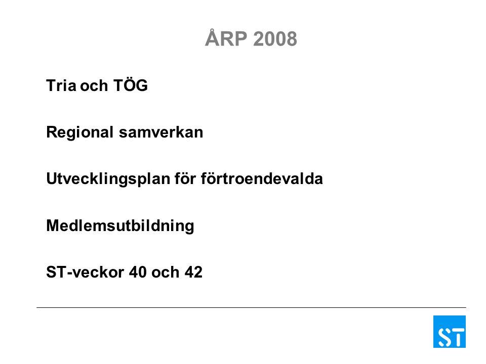 ÅRP 2008 Tria och TÖG Regional samverkan Utvecklingsplan för förtroendevalda Medlemsutbildning ST-veckor 40 och 42