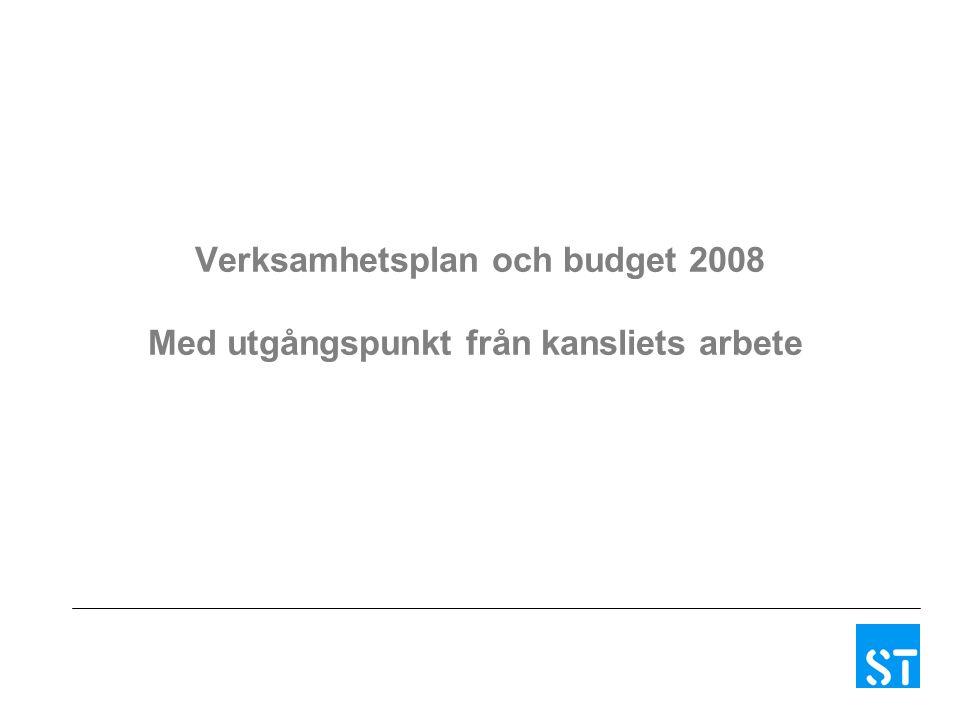 Verksamhetsplan och budget 2008 Med utgångspunkt från kansliets arbete