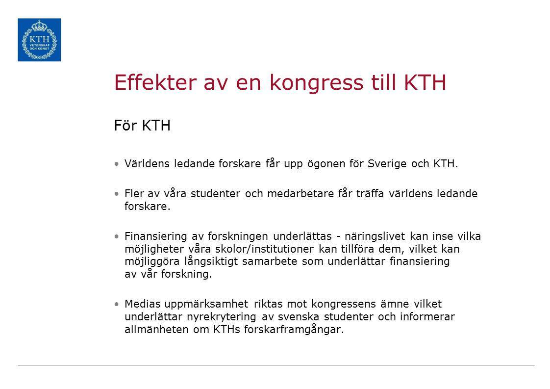 Effekter av en kongress till KTH För KTH Världens ledande forskare får upp ögonen för Sverige och KTH.