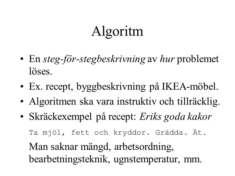 Algoritm En steg-för-stegbeskrivning av hur problemet löses.