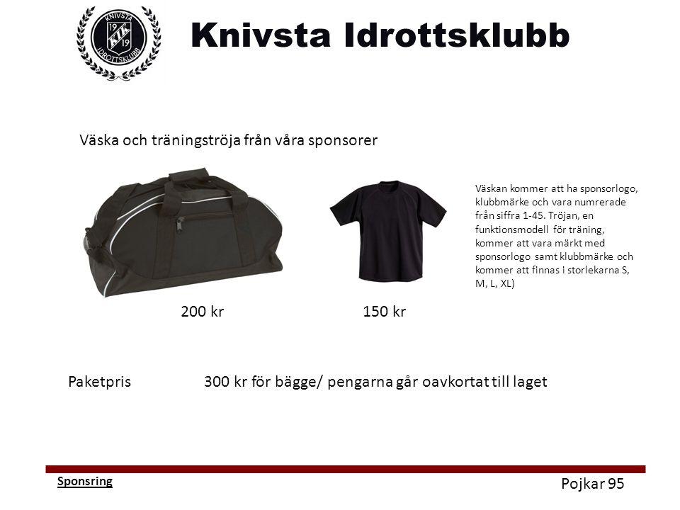 Pojkar 95 Sponsring Väska och träningströja från våra sponsorer 200 kr150 kr Paketpris300 kr för bägge/ pengarna går oavkortat till laget Väskan kommer att ha sponsorlogo, klubbmärke och vara numrerade från siffra 1-45.