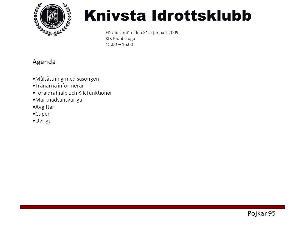 Pojkar 95 Agenda Målsättning med säsongen Tränarna informerar Föräldrahjälp och KIK funktioner Marknadsansvariga Avgifter Cuper Övrigt Föräldramöte den 31:a januari 2009 KIK Klubbstuga 15:00 – 16:00