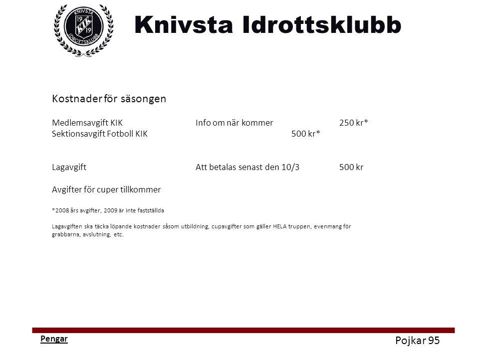 Pojkar 95 Pengar Kostnader för säsongen Medlemsavgift KIKInfo om när kommer250 kr* Sektionsavgift Fotboll KIK500 kr* LagavgiftAtt betalas senast den 1