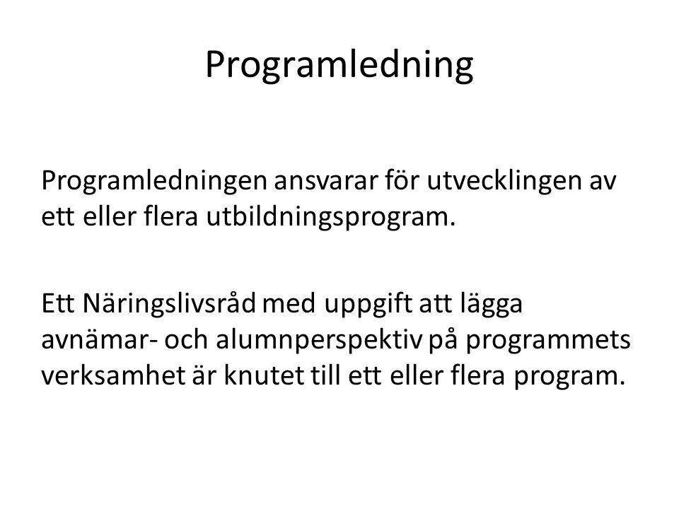 Programledning Programledningen ansvarar för utvecklingen av ett eller flera utbildningsprogram. Ett Näringslivsråd med uppgift att lägga avnämar- och