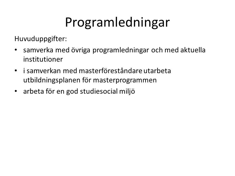 Programledningar Huvuduppgifter: samverka med övriga programledningar och med aktuella institutioner i samverkan med masterföreståndare utarbeta utbil
