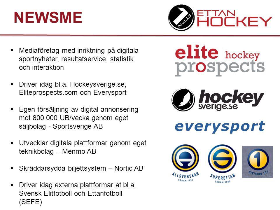 NEWSME + ETTANHOCKEY Hockeyettan AB hockeyettan.com ettancoachen.com Newsme AB Everysport Hockeysverige Eliteprospect
