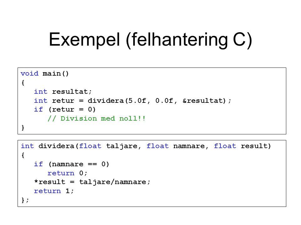 Exempel (felhantering C) void main() { int resultat; int retur = dividera(5.0f, 0.0f, &resultat); if (retur = 0) // Division med noll!.