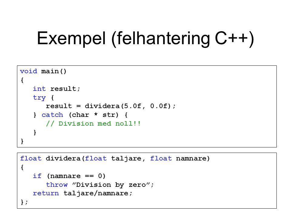 Exempel (felhantering C++) void main() { int result; try { result = dividera(5.0f, 0.0f); } catch (char * str) { // Division med noll!.