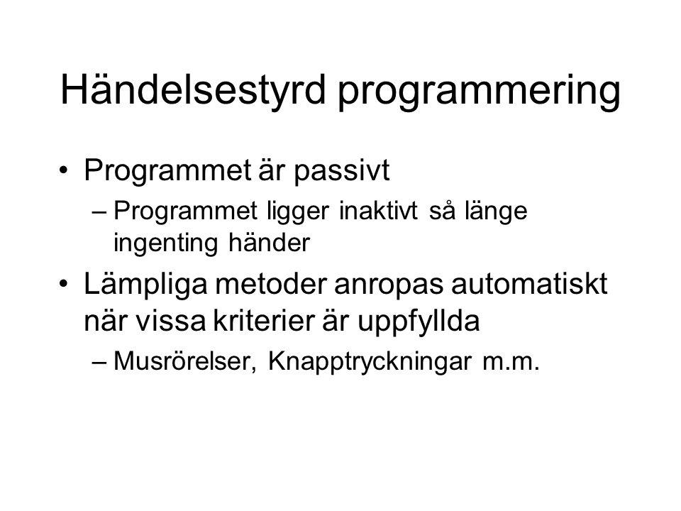 Händelsestyrd programmering Programmet är passivt –Programmet ligger inaktivt så länge ingenting händer Lämpliga metoder anropas automatiskt när vissa kriterier är uppfyllda –Musrörelser, Knapptryckningar m.m.
