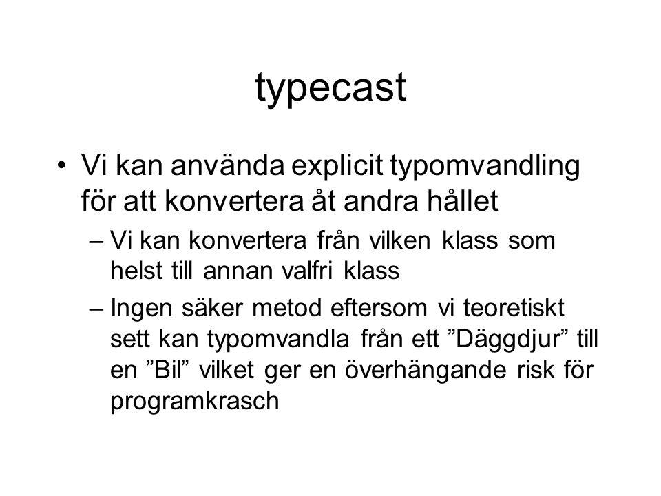 typecast Vi kan använda explicit typomvandling för att konvertera åt andra hållet –Vi kan konvertera från vilken klass som helst till annan valfri klass –Ingen säker metod eftersom vi teoretiskt sett kan typomvandla från ett Däggdjur till en Bil vilket ger en överhängande risk för programkrasch