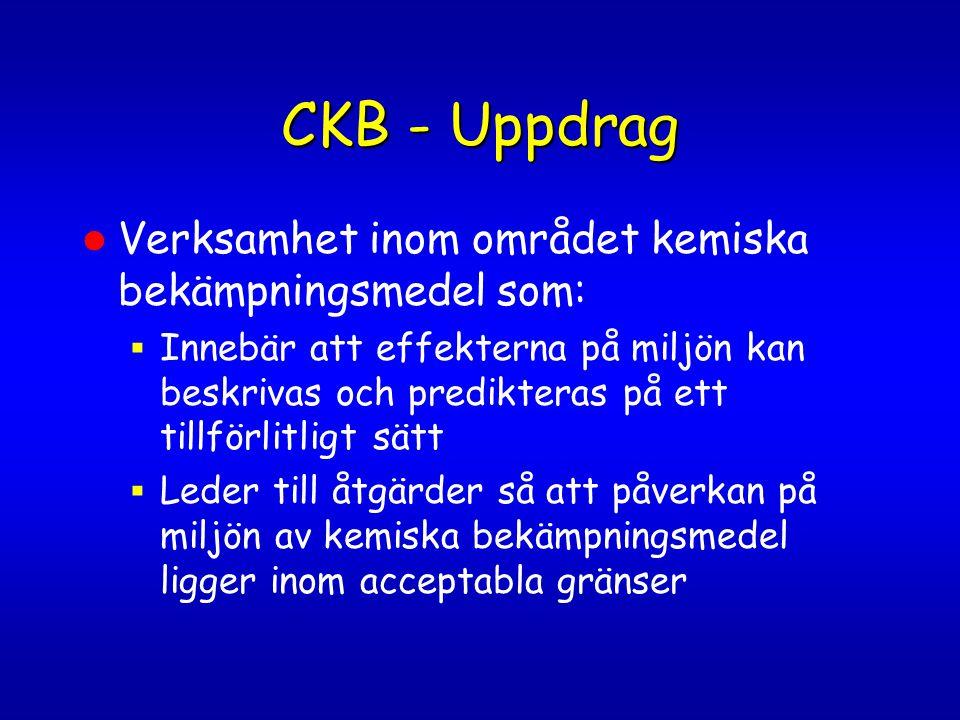 CKB - Uppdrag Verksamhet inom området kemiska bekämpningsmedel som:  Innebär att effekterna på miljön kan beskrivas och predikteras på ett tillförlit