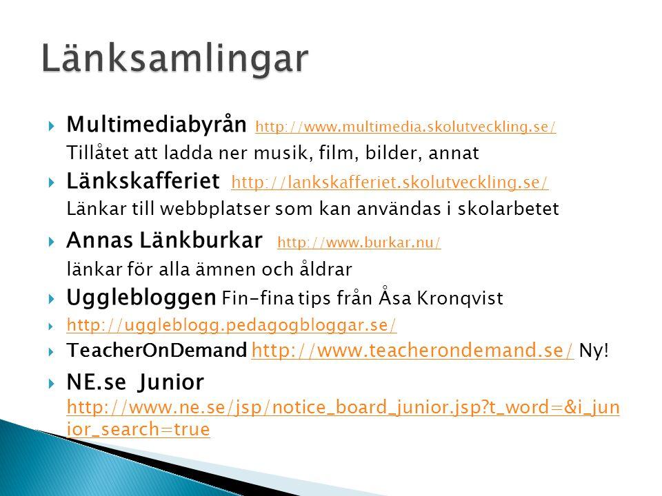  UR Barnwebben http://www.ur.se/Barn/Pa-manga-sprak-/Hem/ http://www.ur.se/Barn/Pa-manga-sprak-/Hem/  Svenska dialekter http://swedia.ling.gu.se/ http://swedia.ling.gu.se/  Rimrum- http://www4.ur.se/rimrum/ http://www4.ur.se/rimrum/ lekar med ord för de yngre  Ordsait http://www.ur.se/tunggung Skapa ord och sagor http://www.ur.se/tunggung  Unga fakta http://www.ungafakta.se/pyssel/ http://www.ungafakta.se/pyssel/ Pyssel och spel  Boktips http://www.barnensbibliotek.se/ny_boktips/default.asp http://www.barnensbibliotek.se/ny_boktips/default.asp Söka boktips för alla åldrar  Mumintrollen http://www.mumintrollen.se/index.php http://www.mumintrollen.se/index.php Pyssel och spel  Alfons Åberg http://www.alfons.se/http://www.alfons.se/  Pyssel och spel  Rosas bondgård- http://www.ur.se/bondgarden/ http://www.ur.se/bondgarden/ Träffa och lyssna på olika djur – många språk  Forntiden - http://www.ur.se/forntiden/http://www.ur.se/forntiden/ Allt om forntiden, lyssna på språket, skicka e-kort med runskrift mm.