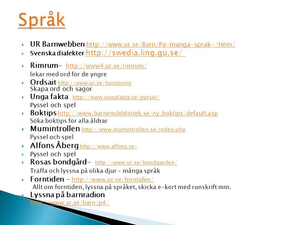  UR Barnwebben http://www.ur.se/Barn/Pa-manga-sprak-/Hem/ http://www.ur.se/Barn/Pa-manga-sprak-/Hem/  Svenska dialekter http://swedia.ling.gu.se/ ht