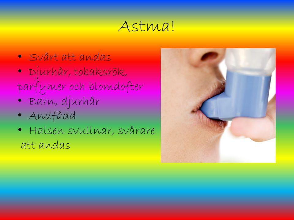 Astma! Svårt att andas Djurhår, tobaksrök, parfymer och blomdofter Barn, djurhår Andfådd Halsen svullnar, svårare att andas