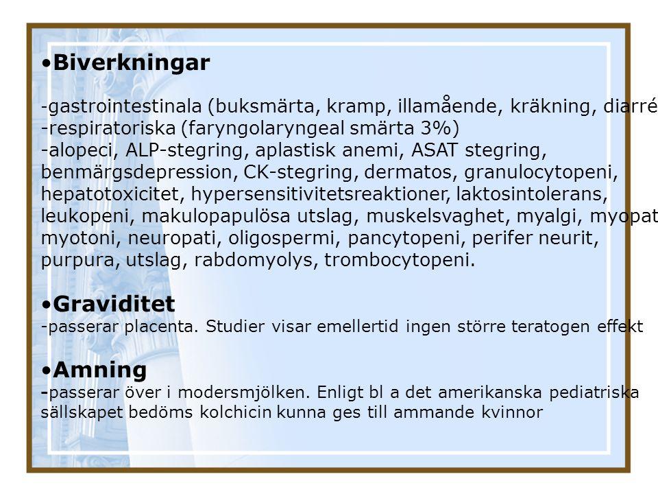 Biverkningar - gastrointestinala (buksmärta, kramp, illamående, kräkning, diarré) -respiratoriska (faryngolaryngeal smärta 3%) -alopeci, ALP-stegring,