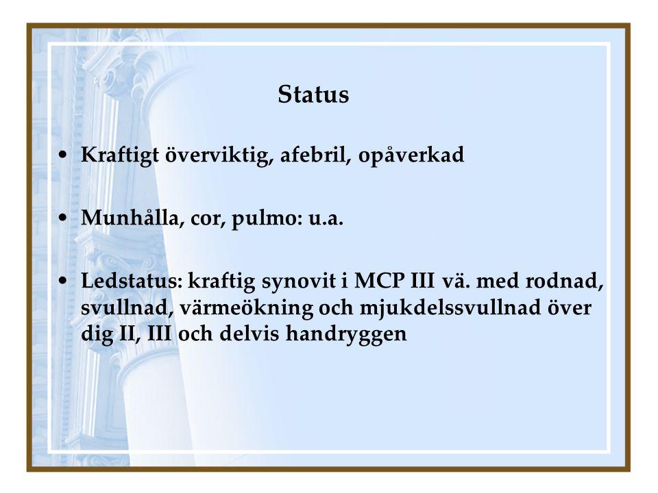 Status Kraftigt överviktig, afebril, opåverkad Munhålla, cor, pulmo: u.a. Ledstatus: kraftig synovit i MCP III vä. med rodnad, svullnad, värmeökning o