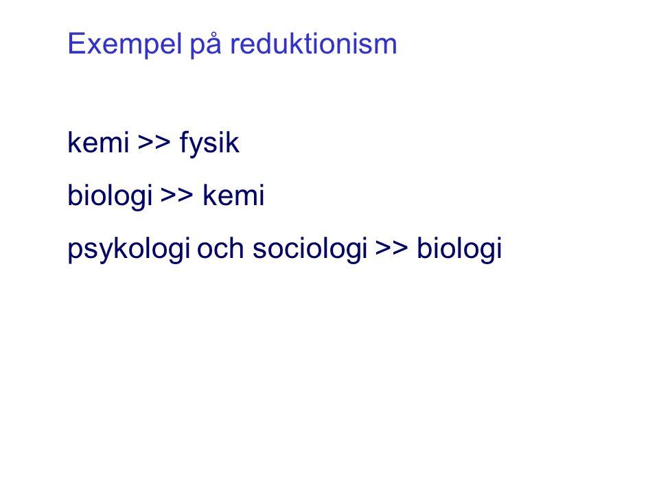 kemi >> fysik biologi >> kemi psykologi och sociologi >> biologi Exempel på reduktionism