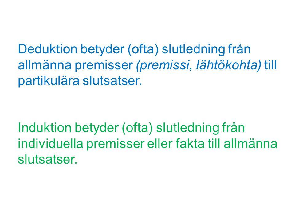 Deduktion betyder (ofta) slutledning från allmänna premisser (premissi, lähtökohta) till partikulära slutsatser.
