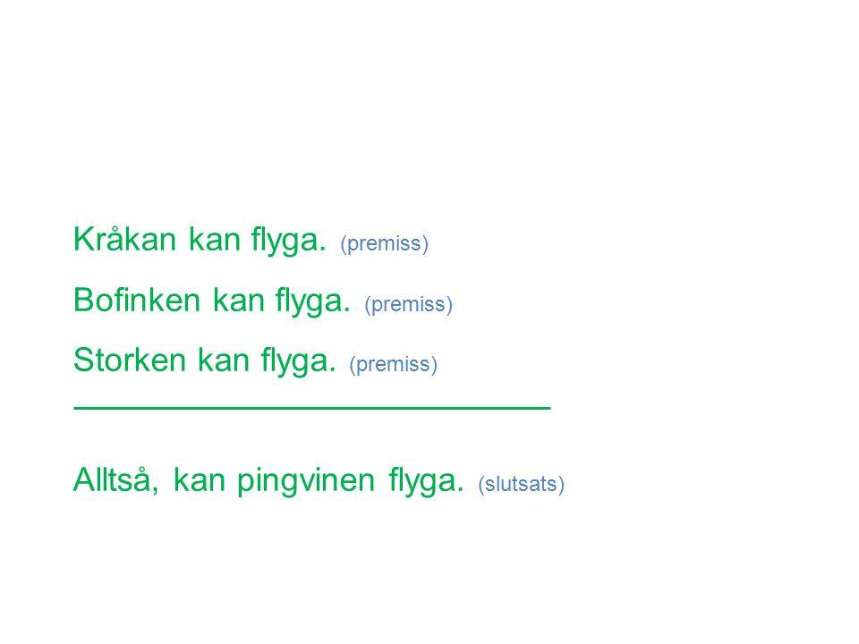 Kråkan kan flyga. (premiss) Bofinken kan flyga. (premiss) Storken kan flyga.