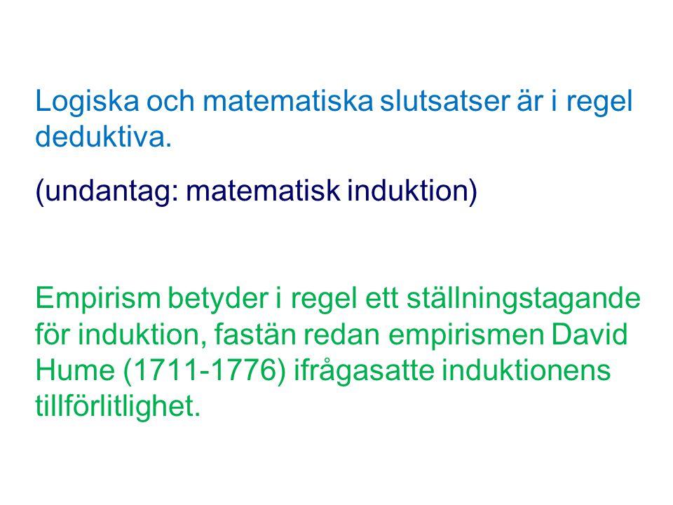 Logiska och matematiska slutsatser är i regel deduktiva.