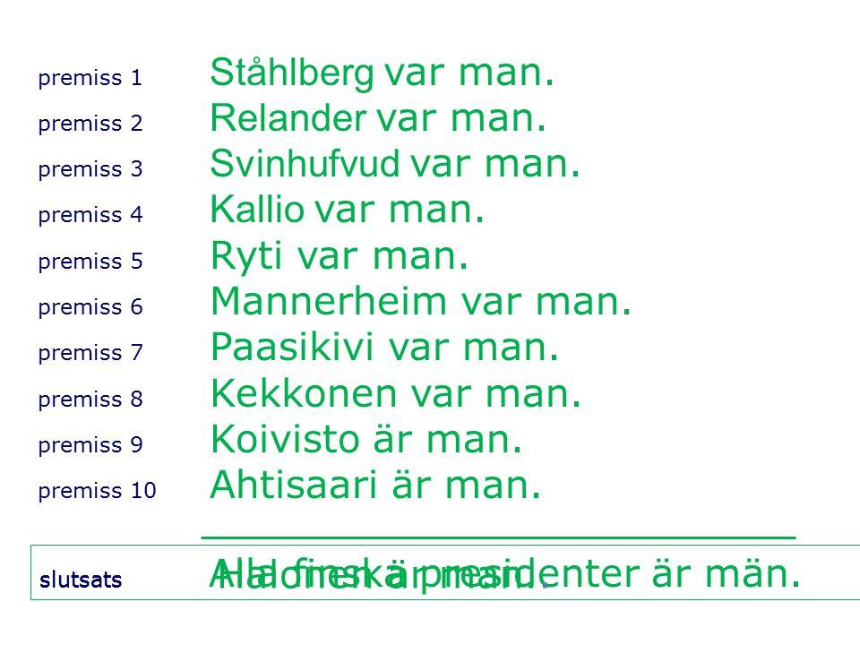 premiss 1 Ståhlberg var man. premiss 2 Relander var man.