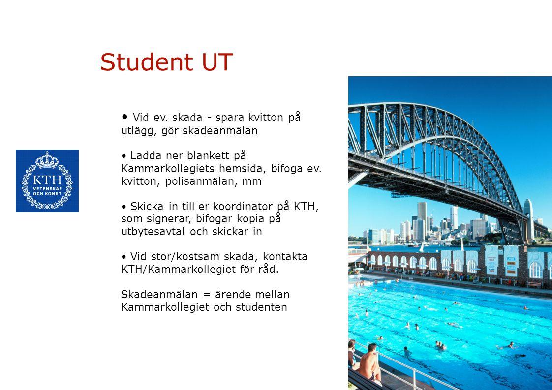 5 Student UT Fullständiga försäkringsvillkor: http://www.kammarkollegiet.se/fo rsakringar/studenter/student-ut http://www.kammarkollegiet.se/fo rsakringar/studenter/student-ut Kom ihåg: se till att få MIC-kort från din koordinator före avresa.