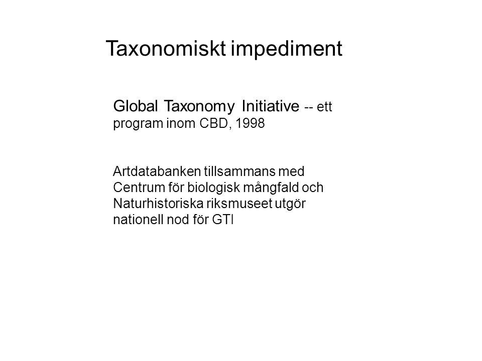 Global Taxonomy Initiative -- ett program inom CBD, 1998 Artdatabanken tillsammans med Centrum för biologisk mångfald och Naturhistoriska riksmuseet utgör nationell nod för GTI Taxonomiskt impediment