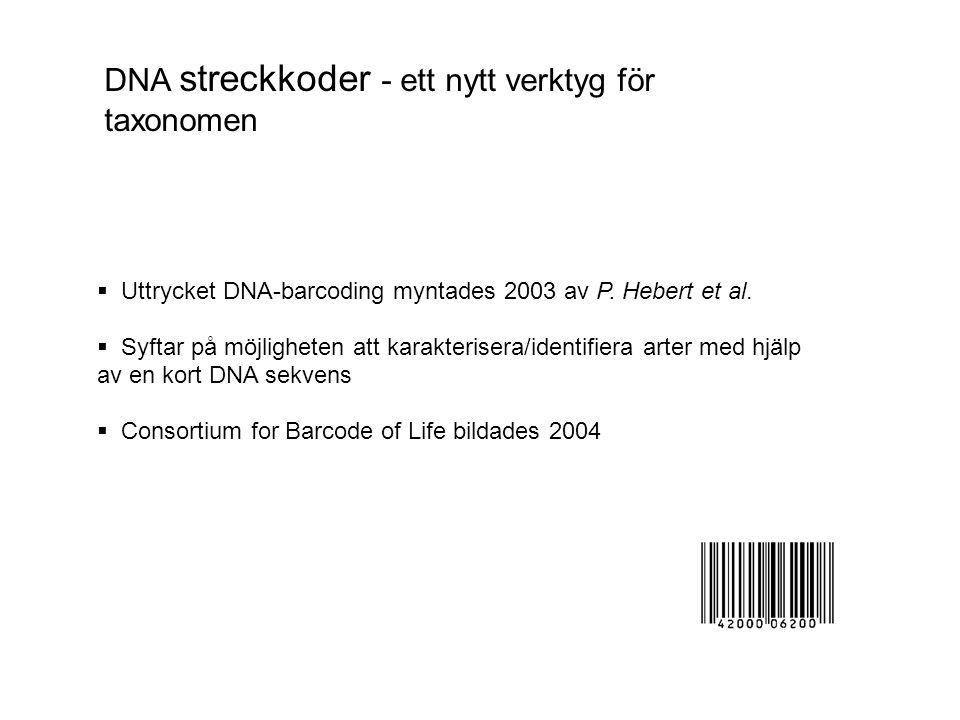 DNA streckkoder - ett nytt verktyg för taxonomen  Uttrycket DNA-barcoding myntades 2003 av P.