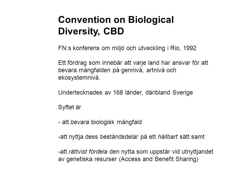 Convention on Biological Diversity, CBD FN:s konferens om miljö och utveckling i Rio, 1992 Ett fördrag som innebär att varje land har ansvar för att bevara mångfalden på gennivå, artnivå och ekosystemnivå.