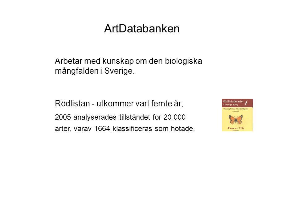 ArtDatabanken Arbetar med kunskap om den biologiska mångfalden i Sverige.