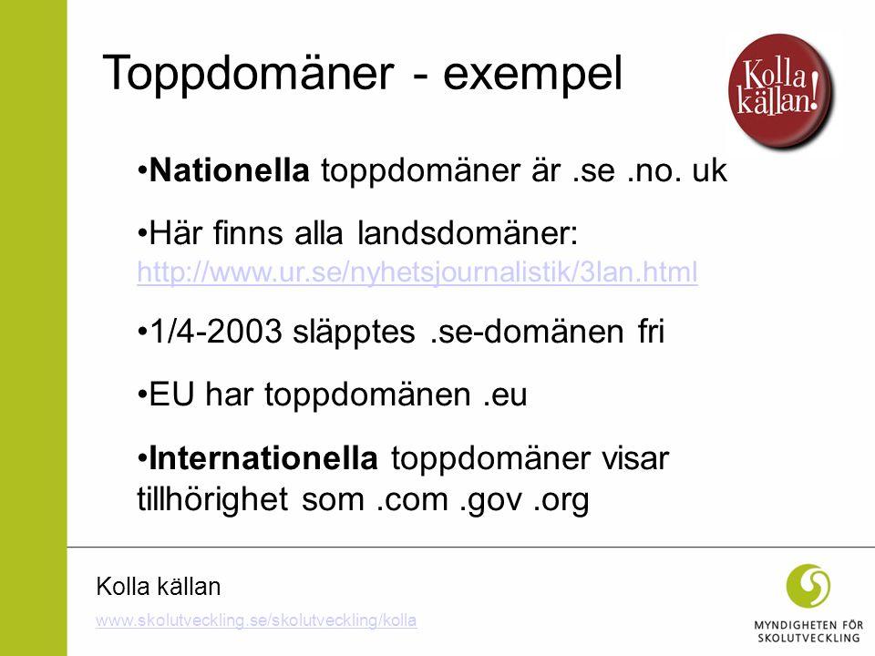Kolla källan Nationella toppdomäner är.se.no. uk Här finns alla landsdomäner: http://www.ur.se/nyhetsjournalistik/3lan.html http://www.ur.se/nyhetsjou