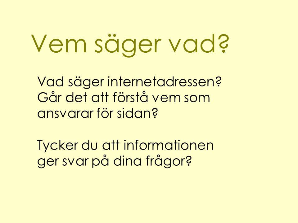 Vem säger vad? Vad säger internetadressen? Går det att förstå vem som ansvarar för sidan? Tycker du att informationen ger svar på dina frågor?
