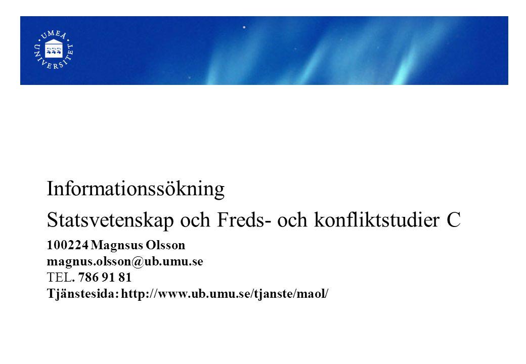 Mer om vetenskapliga artiklar och tidskrifter http://hlk-lxstream.hj.se/doplay/modul2vetpubl (film 16 min.) http://www3.ub.lu.se/infokompetens//vetkomm/index.html