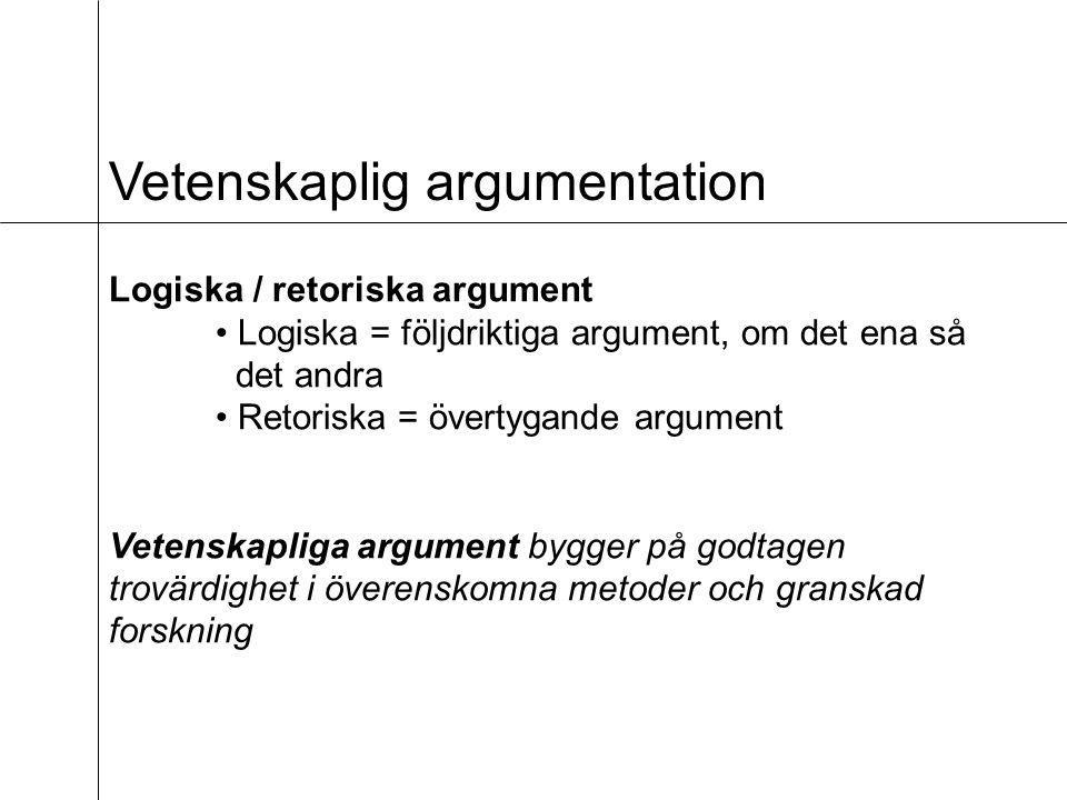 Vetenskaplig argumentation Logiska / retoriska argument Logiska = följdriktiga argument, om det ena så det andra Retoriska = övertygande argument Vetenskapliga argument bygger på godtagen trovärdighet i överenskomna metoder och granskad forskning
