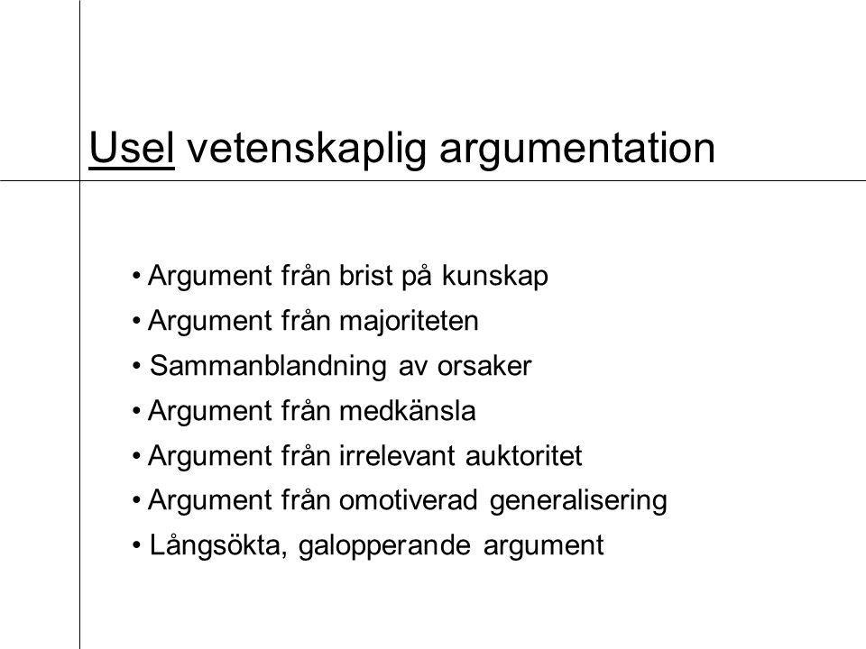 Usel vetenskaplig argumentation Argument från brist på kunskap Argument från majoriteten Sammanblandning av orsaker Argument från medkänsla Argument från irrelevant auktoritet Argument från omotiverad generalisering Långsökta, galopperande argument