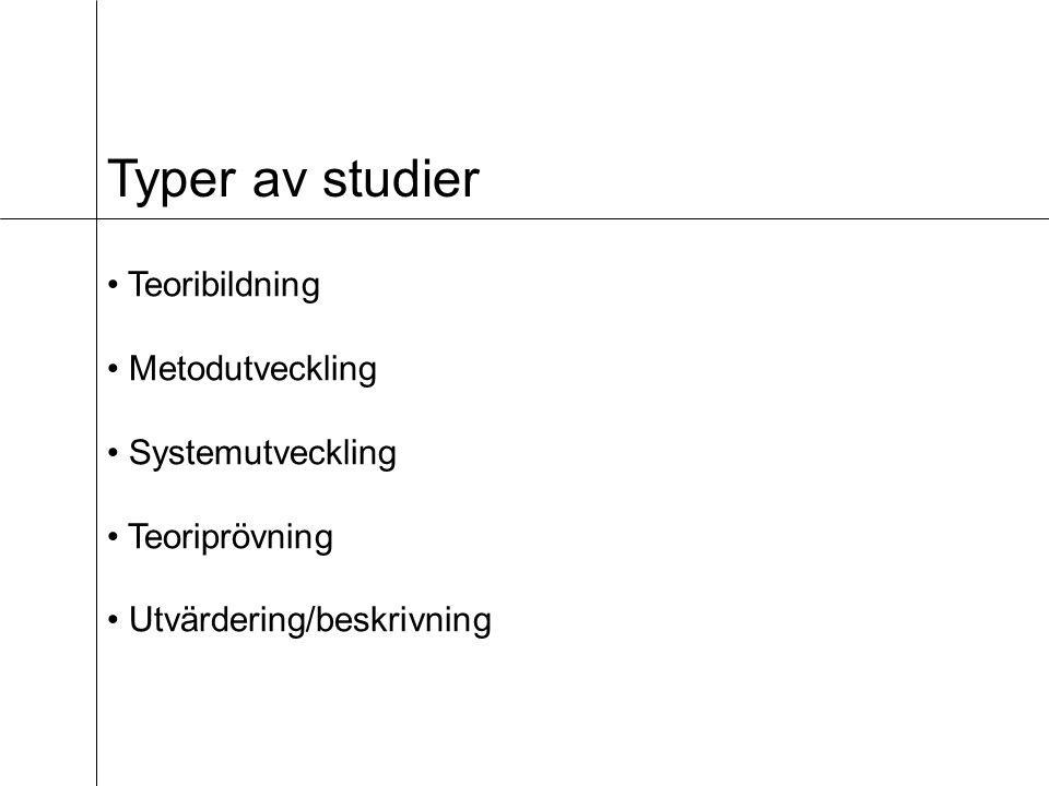 Typer av studier Teoribildning Metodutveckling Systemutveckling Teoriprövning Utvärdering/beskrivning