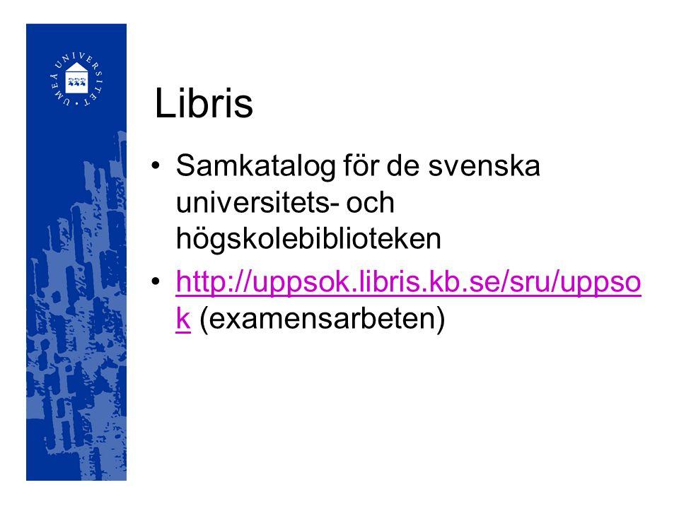 Libris Samkatalog för de svenska universitets- och högskolebiblioteken http://uppsok.libris.kb.se/sru/uppso k (examensarbeten)http://uppsok.libris.kb.