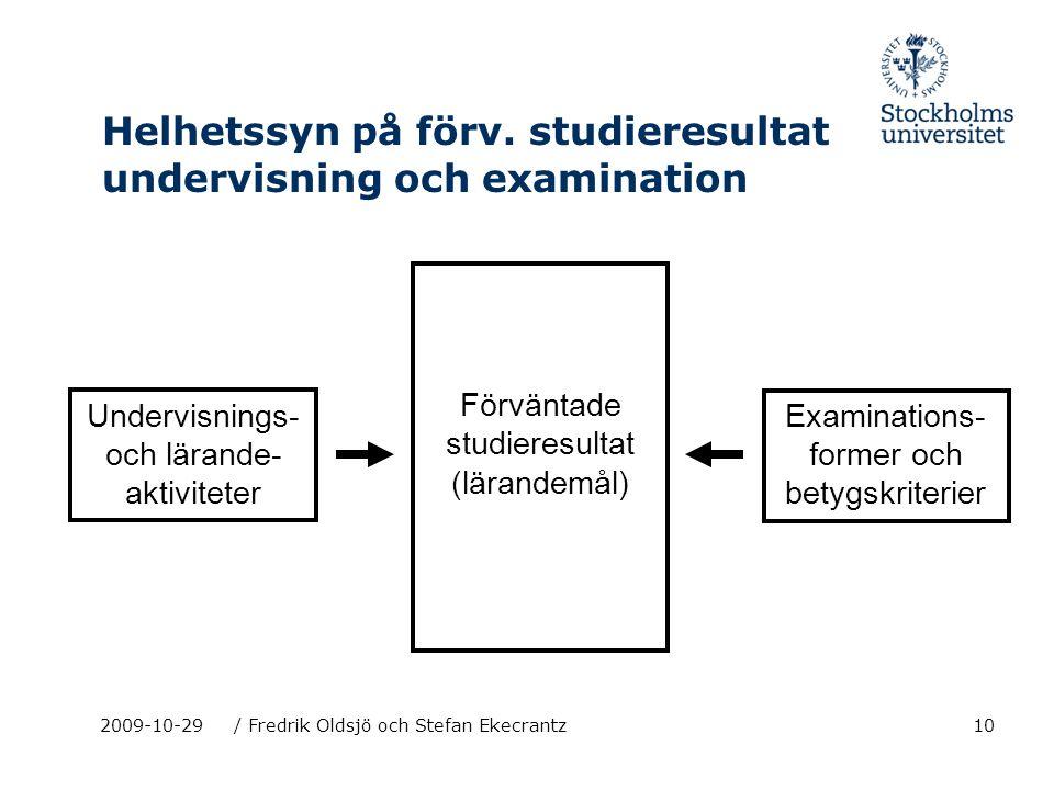 10 Helhetssyn på förv. studieresultat undervisning och examination 2009-10-29/ Fredrik Oldsjö och Stefan Ekecrantz Förväntade studieresultat (lärandem