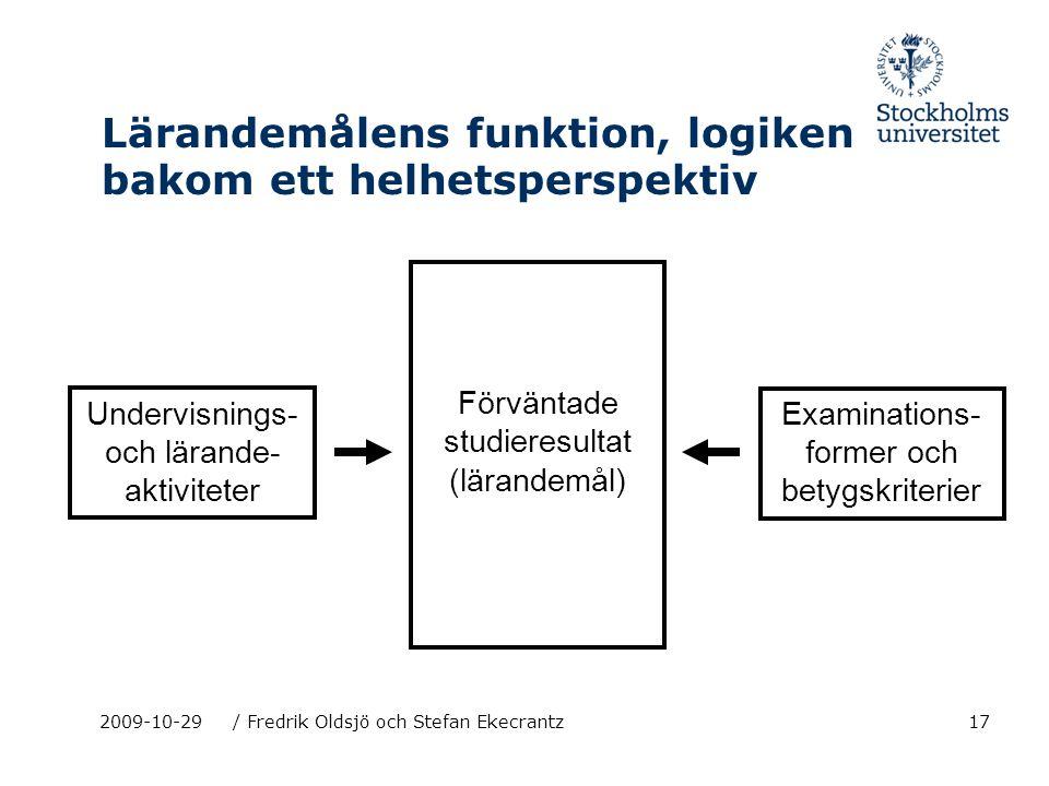 17 Lärandemålens funktion, logiken bakom ett helhetsperspektiv 2009-10-29/ Fredrik Oldsjö och Stefan Ekecrantz Förväntade studieresultat (lärandemål)