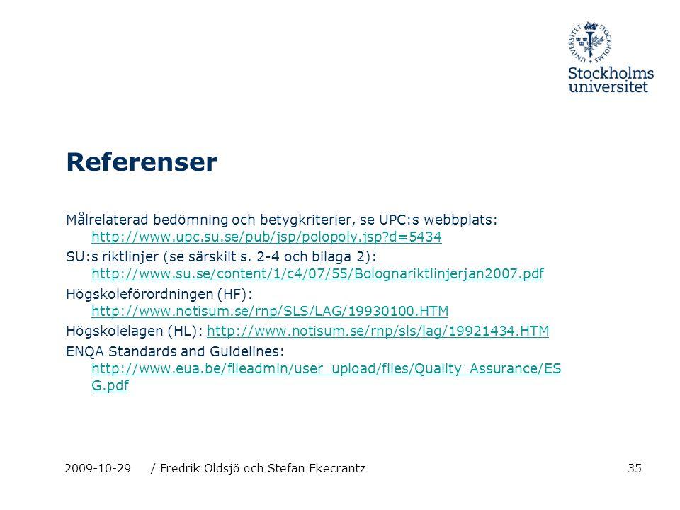 35 Referenser Målrelaterad bedömning och betygkriterier, se UPC:s webbplats: http://www.upc.su.se/pub/jsp/polopoly.jsp?d=5434 http://www.upc.su.se/pub