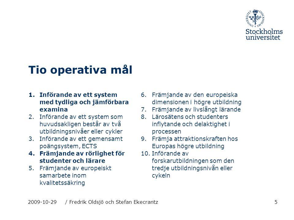 5 Tio operativa mål 1.Införande av ett system med tydliga och jämförbara examina 2.Införande av ett system som huvudsakligen består av två utbildnings