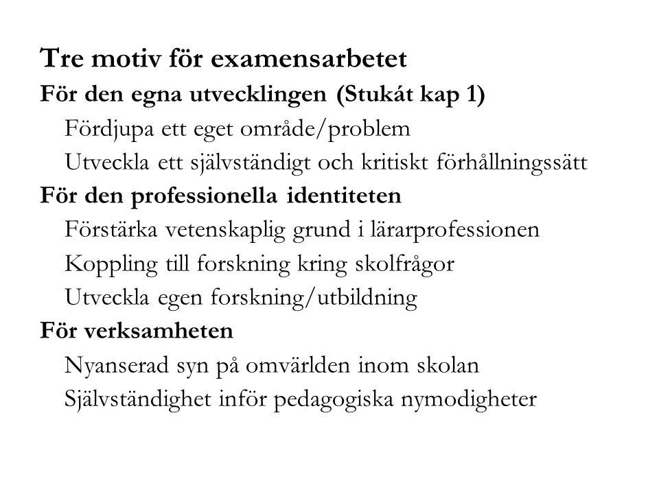 Tre motiv för examensarbetet För den egna utvecklingen (Stukát kap 1) Fördjupa ett eget område/problem Utveckla ett självständigt och kritiskt förhåll
