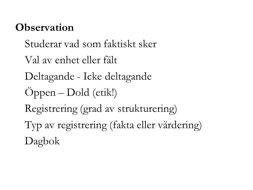 Observation Studerar vad som faktiskt sker Val av enhet eller fält Deltagande - Icke deltagande Öppen – Dold (etik!) Registrering (grad av struktureri