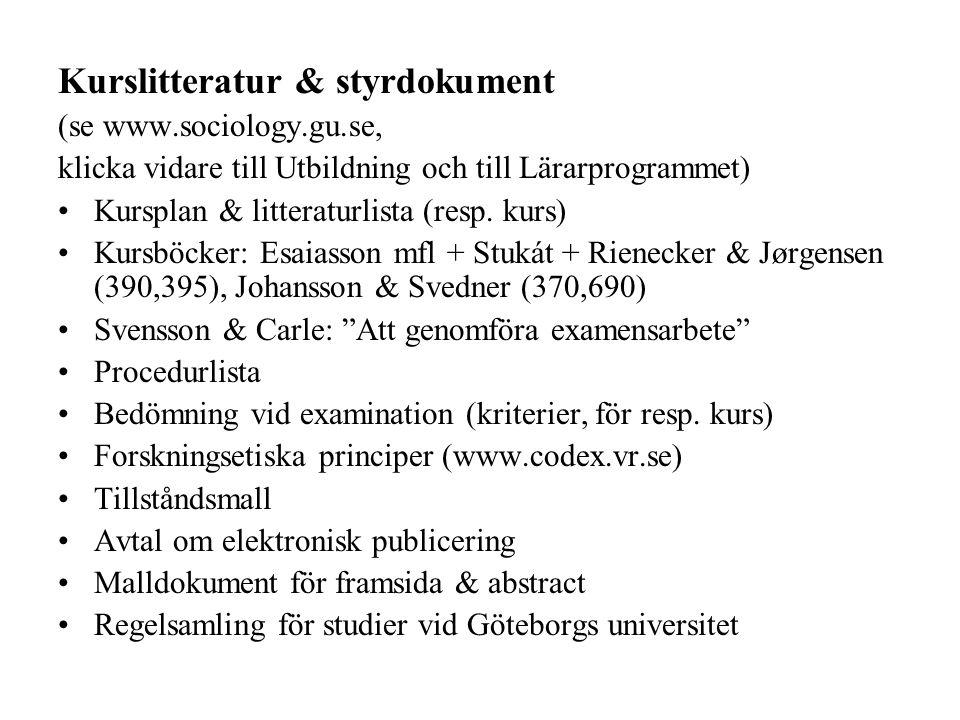 Kurslitteratur & styrdokument (se www.sociology.gu.se, klicka vidare till Utbildning och till Lärarprogrammet) Kursplan & litteraturlista (resp. kurs)
