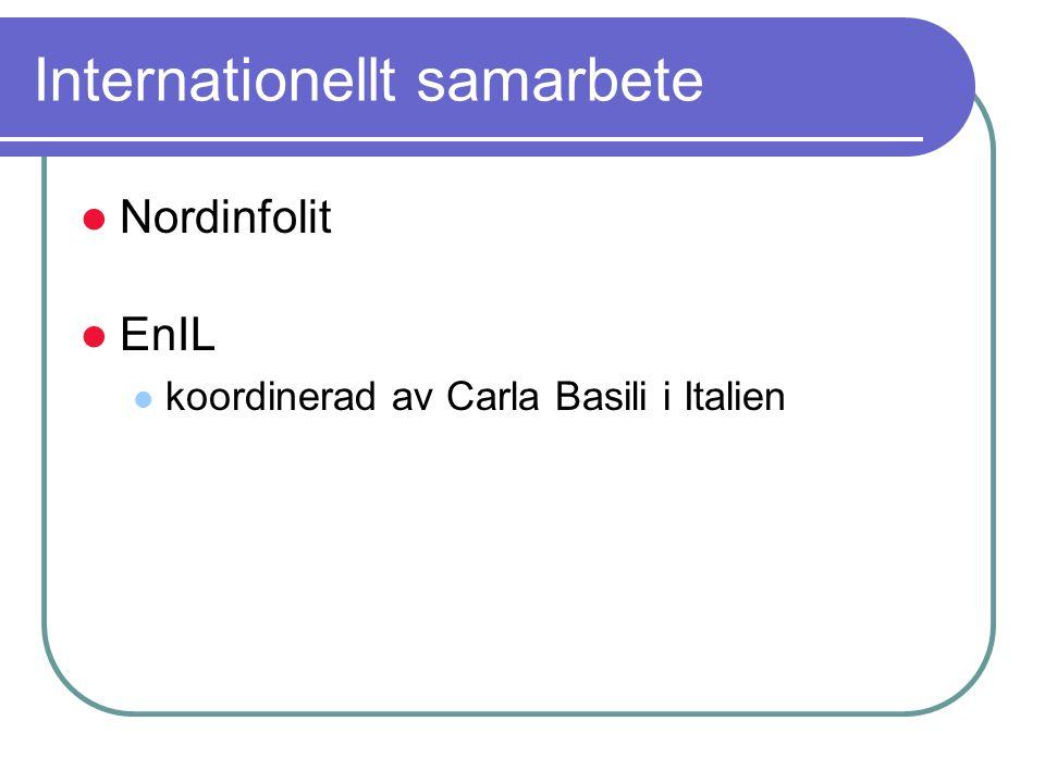 Internationellt samarbete Nordinfolit EnIL koordinerad av Carla Basili i Italien