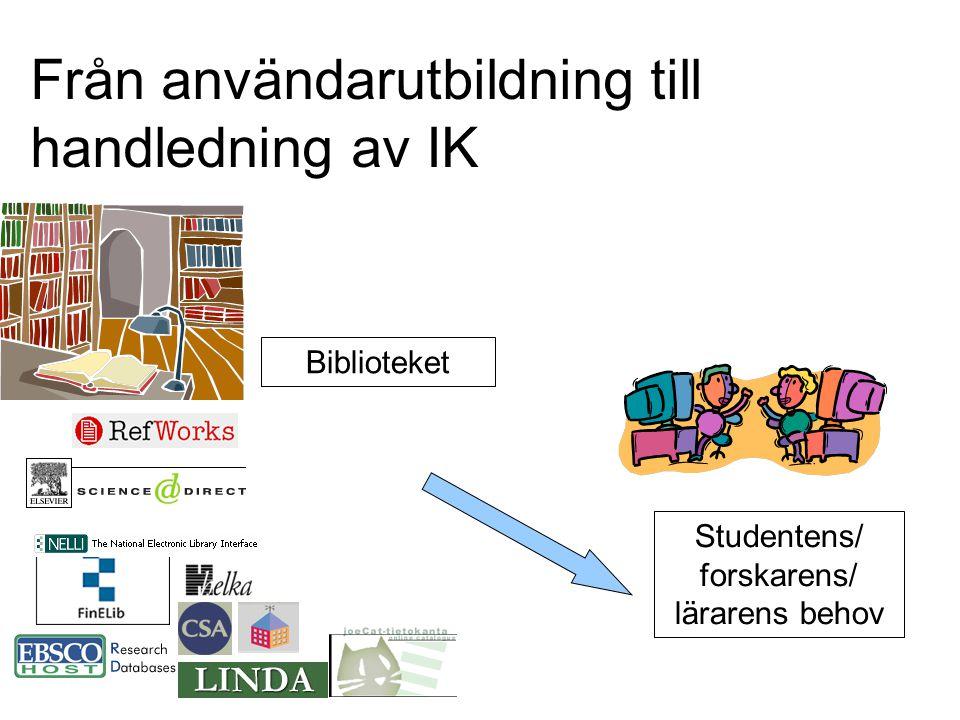 Från användarutbildning till handledning av IK Biblioteket Studentens/ forskarens/ lärarens behov